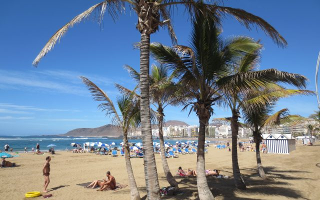 Las Palmas beach Las Canteras in March