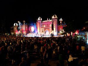 Santa Catalina stage at night